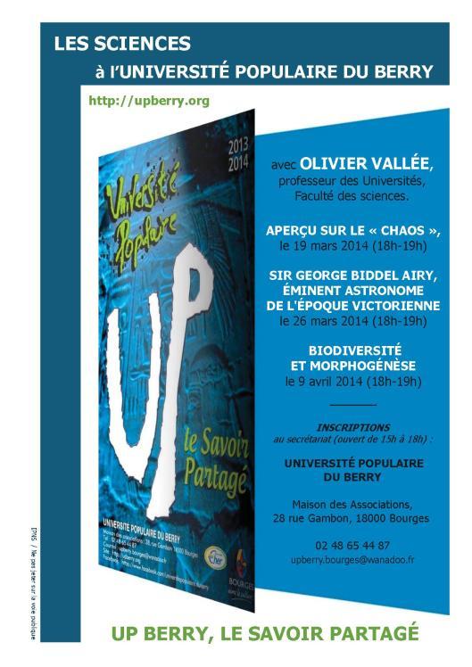 Olivier Vallée, 3 conférences Printemps 2014 - UP Berry
